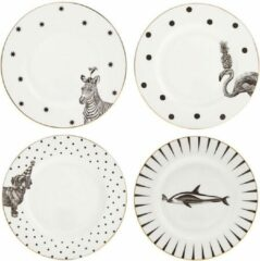 Witte Yvonne Ellen London Monochrome Set van 4 Ontbijt borden Ø 16 cm - Diverse Dieren Prints - Bone China Porselein - In prachtige Geschenkdoos