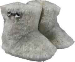 Beige La Petite Couronne Babylaarzen Yeti Klittenband Wit/zilver Maat 16/17