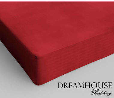 Afbeelding van Rode Dreamhouse bedding - hoeslaken - katoen - lits-jumeaux - 200x220 cm - rood - twijfelaar (120 cm) - rood