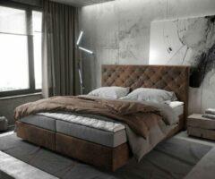 Grijze DELIFE Bed Dream-Great bruin vintage 180x200 cm met matras en topper Boxspring-bed