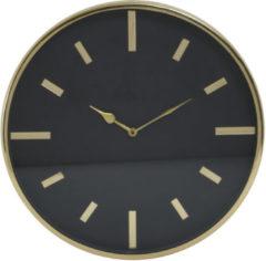 Zwarte PTMD Ricki goudkleurige roestvrij stalen klok rond maat in cm: 40 x 5 x 40 - goud