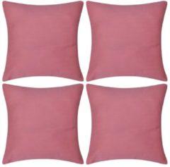 VidaXL Kussenhoezen katoen 40 x 40 cm roze 4 stuks
