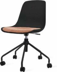Nolon Nout bureaustoel zwart - Zwarte zitting en terracotta rood zitkussen