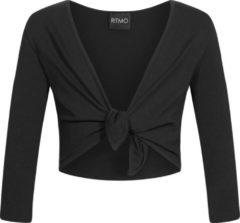Merkloos / Sans marque Knoopvestje LS100 Balletvest Dans gymnastiek van katoen 3/4 mouwen zwart - maat XL