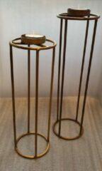 Gele Home & Joy T.Light Holder 10x10x35 cm Blue Gold