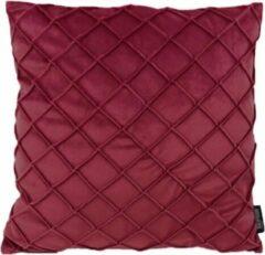 Donkerrode Gek op Kussens! Velvet Cross Wijnrood Kussenhoes | Fluweel - Polyester | 45 x 45 cm