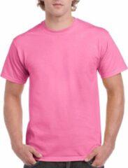 Gildan Set van 2x stuks roze katoenen shirts voor volwassenen/heren - Midden roze - 100% katoen - 200 grams kwaliteit, maat: S (36/48)