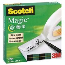 Scotch plakband Magic Tape formaat 12 mm x 66 m doos van 2 rolletjes
