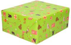 Merkloos / Sans marque XL Sinterklaas kadopapier print groen 2,5 x 0,7 meter op rol 70 gram - Luxe papier kwaliteit cadeaupapier/inpakpapier - Sint en Piet