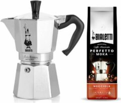 Zilveren Bialetti Moka Express 6 kops + Bialetti Hazelnoot gemalen koffie 250gr