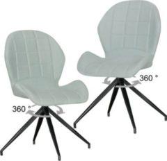 Wohnling 2er Set Vintage Design Esszimmerstühle YUKI 360° drehbar Grün gepolstert Polsterstühle mit Lehne und Metallbeinen Doppelpack Küchenstühle