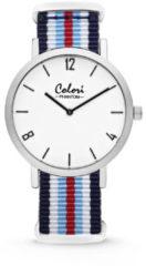 Colori Horloge Phantom staal/nylon rood-wit-blauw 42 mm 5-COL490