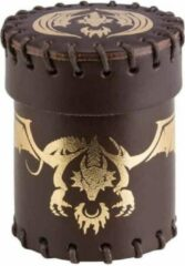 Gouden Q Workshop Dobbelbeker Dragon Brown Gold Leather Dice Cup Q-Workshop