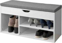 Grijze Simpletrade Schoenenbank - Schoenenkast - 3 compartimenten - Klep - 80x30x46 cm