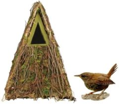 Merkloos / Sans marque Houten vogelhuisje/nestkastje groene takjes/mos 24 cm - Tuindecoratie vogelnest nestkast vogelhuisjes