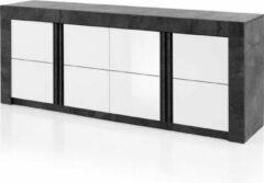 Andere Buffetkast 4 Deuren - Wit - B 220 x D 46 x H 85 cm- CAPRI