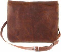 Merkloos / Sans marque Messengertas 17 inch – Vintage Look Tas Bruin Leer Laptoptas - ECHTE LEDER Boekentas – Handgemaakte Schoudertas – A3 Aktetas – Gift verpakking