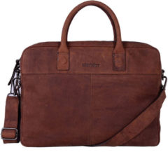 Bruine DSTRCT DSTRCT Wall Street Leren Business Laptoptas 15,6 inch Brown