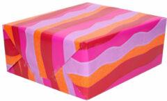 Duni 3x Inpakpapier/cadeaupapier roze/paars/oranje/rood in golf 200 x 70 cm - Cadeauverpakking kadopapier
