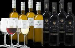 Wijnvoordeel Wijnpakket Casa Safra rood en wit 8 flessen + 4 glazen
