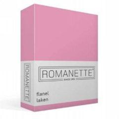Romanette Flanellen Laken - 100% Geruwde Flanel-katoen - 2-persoons (200x260 Cm) - Roze