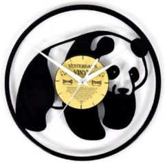 Zwarte Yesterdays Vinyl Lp klok met panda - Vinyl - Wandklok - Pandabeer - 30 CM