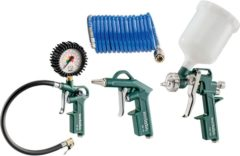 Metabo toolkit compressor, vernevelaar, blaaspistool, opblaasventiel