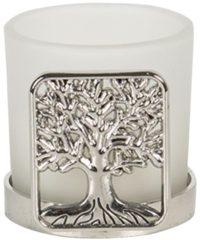 Clayre & Eef Theelichthouder 6ZI371 5*4*5 cm - Transparant Glas Waxinelichthouder Windlichthouder
