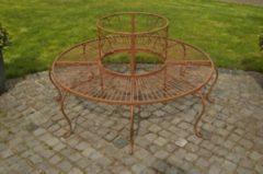 CLP 360° Metall Baum-Bank PEMA mit Lehne, rund Ø ca. 60 cm / 150 cm (innen/außen), Landhausstil, lackiertes Eisen, bis zu 6 Farben wählbar
