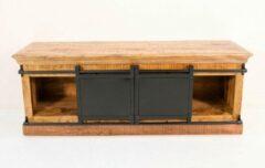 BELFURNID Belfurn - Iron- tv kast in mango hout met zwart metalen schuifdeuren
