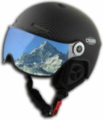 Zwarte OSBE Skihelm Aire Visor Carbon Look 60-61cm