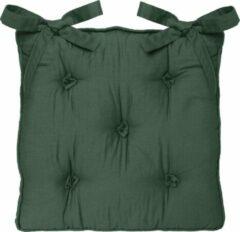 Atmosphera DELUXE stoelkussen groen 5 knopen 40 x 40 H8 cm - 2 lintjes - Extra dik