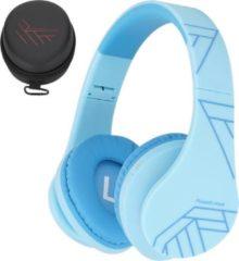 Blauwe PowerLocus P2 draadloze Over-Ear Koptelefoon Inklapbaar koptelefoon voor kinderen - veilig volume van 85 dB- Bluetooth Hoofdtelefoon - Met microfoon