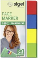 Indexeringsstrookjes sigel 80x50mm transparant rood/geel/blauw/groen
