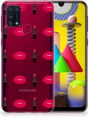 Rode Telefoon Hoesje Samsung Galaxy M31 Silicone Hoesje Doorzichtig Lipstick Kiss