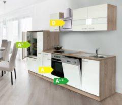 Respekta kitchen economy Respekta Küchenzeile KB310ESWCSE 310 cm Weiß-Eiche Sägerau Nachbildung