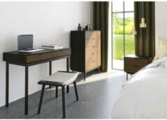 Hioshop Soma bureau met 2 laden, zwart, bruin.