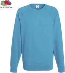 Azuurblauwe Fruit of the Loom sweater - ronde hals - maat S - heren - Kleur Azure Blue