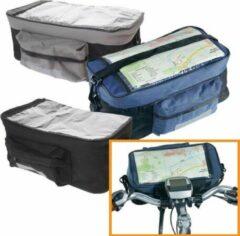 Grijze Evora Blauw Stuurtasje voor fiets - fietstasje - met transparante hoes voor routekaart - met voorvak - met afneembare schouderband