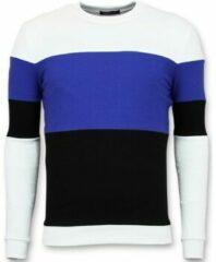 Blauwe Enos Sweater Heren - Online Streep Truien Kopen - Navy Sweaters / Crewnecks Heren Sweater Maat XS