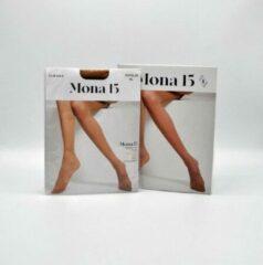Inter socks Panty - Maillot 15 DEN - MONA - 6 STUKS - Prachtige dunne lycra panty - zit perfect - maat XL + tussenstuk - kleur: Claire