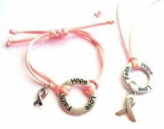Jewellicious Designs Faith Hope Love ketting & armband zilver met lichtroze glanzend koord voor Pink Ribbon