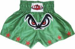 Ali's Fightgear TTBA-3 - Kickboks broekje groen met rode sterren maat L
