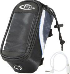 TecTake - Frametas fietstas voor o.a. smartphone e.d. zwart blauw S 401606