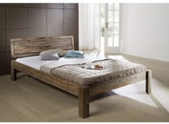 Bett, Bettgestell NATURE GREY Massivmoebel24 grau