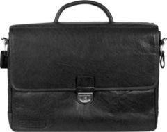 Plevier 600er Serie Aktentasche 2 Fächer Leder 40 cm Laptopfach Damen schwarz