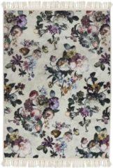 Licht-grijze Essenza Fleur vloerkleed met bloemendessin 60 x 90 cm