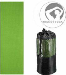 Trendy sport Trendy Yogamat Toalha Handdoek - Yoga mat - Fitnessmat - wasbaar - 183 cm lang x 63 cm breed x 2 mm dik - Groen - incl. draagtas