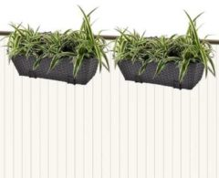 Zwarte Vidaxl trapezium balkon plantenbak 50 cm rattan zwart 2 st