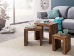 Wohnling WOHNLING 3er Set Satztisch MUMBAI Massiv-Holz Sheesham Wohnzimmer-Tisch Landhaus-Stil Beistelltisch dunkel-braun Naturholz